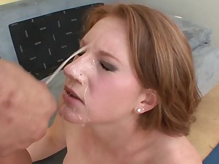 Hardcore outdoor doggy style together with a face replete cum for a blonde