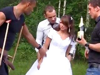 Russian strife = 'wife' enjoys an interracial gang-bang outdoors