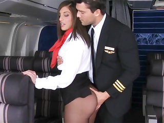 Pilot seduced stewardess to fuck all over airplane