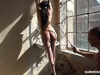 Tied up brunette slave girl Ashley Ocean pussy abused with toys