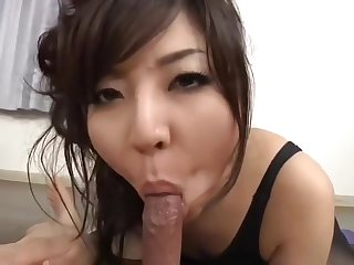 Unbelievable dusky Japanese young gal is sucking cock abiding