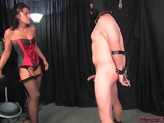 Dour Bit of all right Haley spanks added to pegs her mature male slave