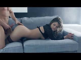 Pulling brunette receives oral sex and gets shagged on sofa in romatic action