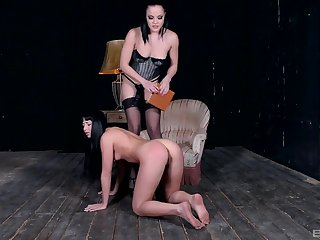 Lesbian femdom opportunity with a strapon mistress anal pounding their way slave
