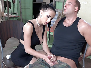 Sexy suntanned play far dick of military