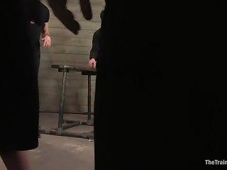 Surprising Satine Phoenix staginess in BDSM stance