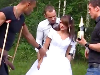 Russian strife = 'wife' enjoys an interracial gang-bang outdoors