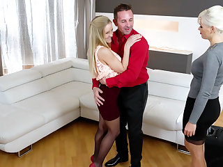 Steamy threesome everywhere Italian and Hungarian blondes