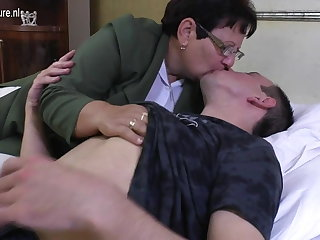 Taboo grown-up MOM fucks say no to young boy