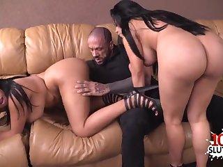 Chubby latina sisters share cock