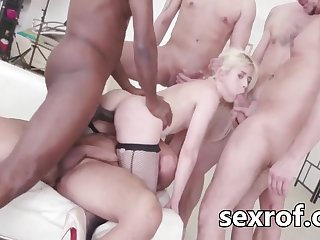 Little yellowish hair babe got a tough gangbang with double penetration - gangbang