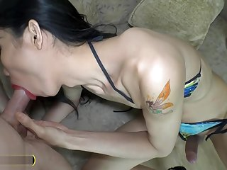 Big dick Thai ladyboy fucks a guy anal and takes it too