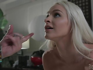 Cute blonde Emma Hix moves her miniskirt be advantageous to a long and strong penis