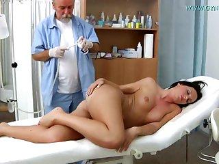 Raunchy Darkhaired Babe Natalie Black Vagina Examin - 18 years grey