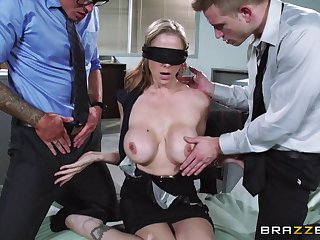 Blindfolded suspect Julia Ann fucked by two boys in blue