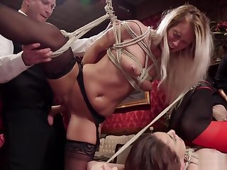 Brunette and flaxen-haired are orgy bdsm fucked