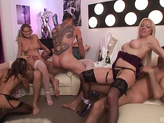 Sexy MILFs in group orgy calling a bunch of sloppy dicks