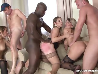 Bibi Fox together with Brittany invite four more friends to please these black dicks