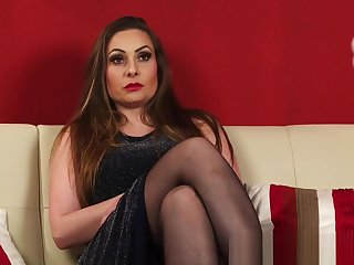British kinky milf in stockings coupled with heels
