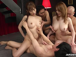 Two professional Asian sluts have a passion cherry schoolboy increased by then enjoy the orgy