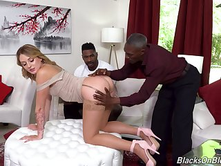 Interracial threesome with dirty headman wife Charlotte Sins