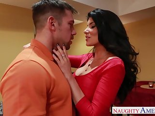 Super despondent dad's girlfriend Romi Rain gets secure pants and gives a blowjob
