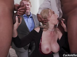 Acquisitive blonde gagged and blacked in proper cuckold gangbang