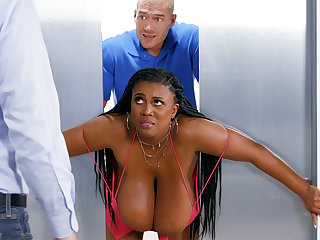 Get the drift of huge-chested black screwed stiff by custodian